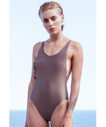 Taupe one-piece swimsuit slim straps - MAIO ALCINHA CASTANHO