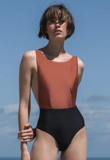 Bicolor swimsuit mocca/black - MAIO CAVA MOCCA PRETO
