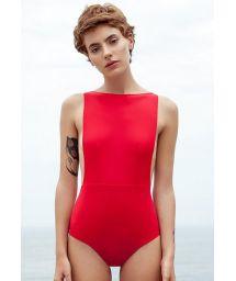 One-piece red swimsuit deep side cutouts - MAIO CAVA PITANGA