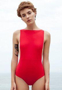 Baddräkt med röd halsringning och höga sidor - MAIO CAVA PITANGA