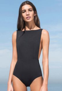 Black 1-piece swimsuit with large side cutouts - MAIO CAVA PRETO