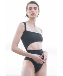 Black asymmetric one-shoulder swimsuit with cutouts - MAIO IÚ PRETO