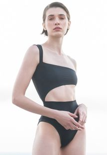 Black asymmetric one-shoulder swimsuit with cutouts - MAIO IÚ PRETO