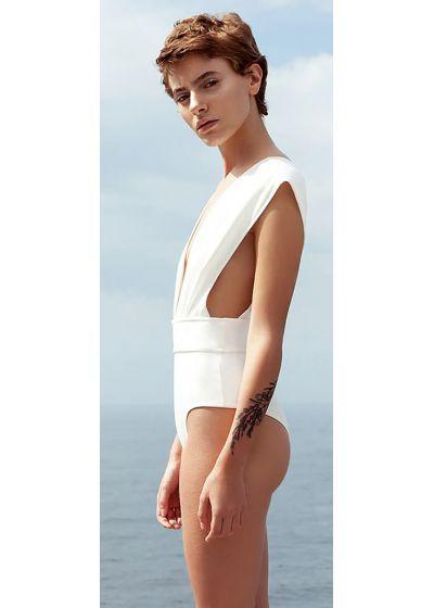 1-teiliger Badeanzug V-Ausschnitt in Ecru - MAIO V CREPE OFF WHITE