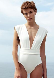 1-piece swimsuit V neckline in écru - MAIO V CREPE OFF WHITE