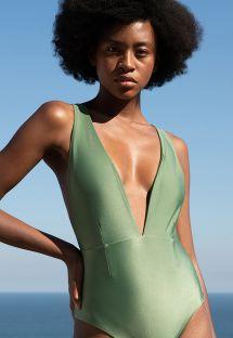 Light green multi-position V neckline swimsuit - MARINA VERDE LOTUS