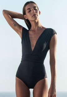 Black plunging one-piece swimsuit with wide straps - V MAILLOT PRETO