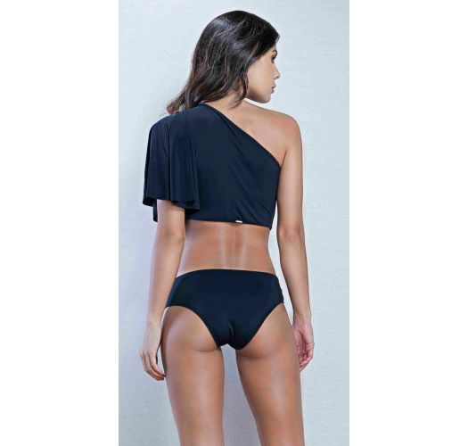Black asymmetrical one-piece swimsuit with a ruffle sleeve - BODY NO PRETO