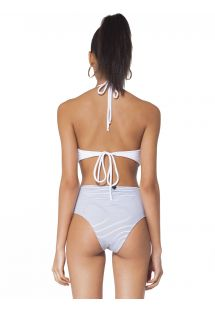 White and navy blue striped trikini - CESME
