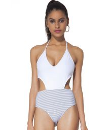 White and navy blue striped trikini - CESME