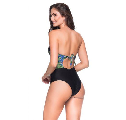 Sexy black / tropical bustier swimsuit - ABERTURA ARARA AZUL