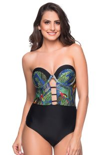 Sexy black / tropical bustier swimsuit - ABERTURA ARARA AZUL