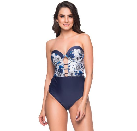 Sexy navy floral bustier swimsuit - ABERTURA ATOBA