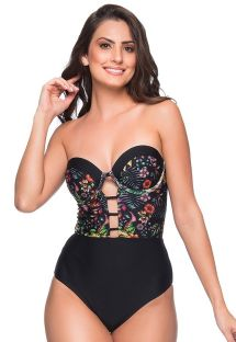Sexy black floral bustier swimsuit - ABERTURA DREAM