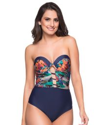 Sexy navy / tropical bustier swimsuit - ABERTURA NORONHA FLORAL