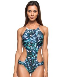 Floral blue Brazilian monokini with crossed back - AGUA CLARA