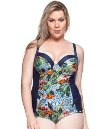 Plus-size hard padded one-piece swimsuit blue print - AGUAS MANSAS