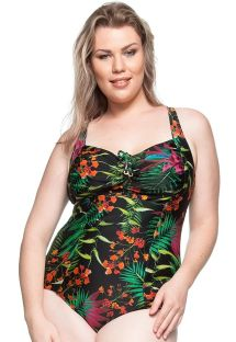 Plus-size pleated one-piece in tropical black - AREIA CLARA