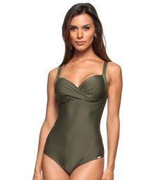 1 piece khaki swimsuit with hard padded top - CASCATA