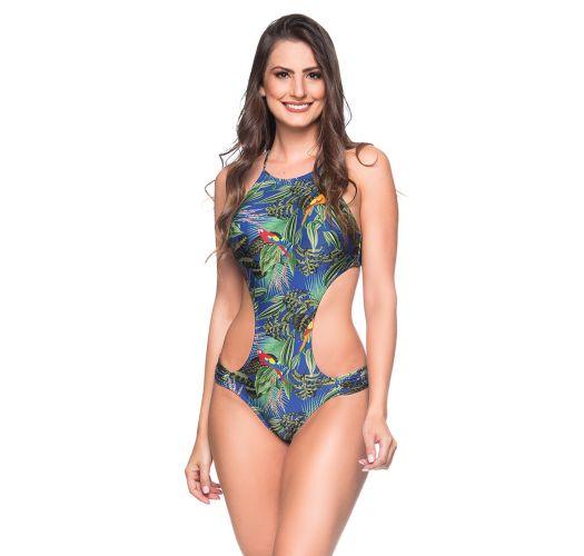 Trikini brésilien très échancré tropical multicolore - ENAGANA ARARA AZUL