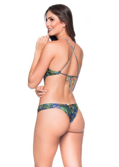 Colorful tropical deeply cut Brazilian monokini - ENAGANA ARARA AZUL