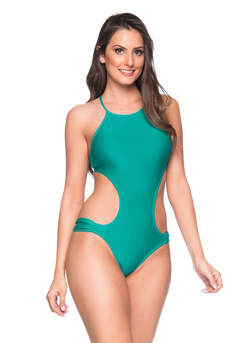 Green deeply cut Brazilian monokini - ENGANA ARQUIPELAGO