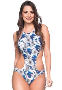 Trikini brésilien très échancré floral bleu/blanc - ENGANA ATOBA