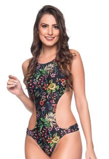 Black floral deeply cut Brazilian monokini - ENGANA DREAM