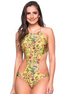 Yellow floral deeply cut Brazilian monokini - ENGANA DREAM AMARELA