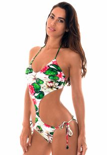 Waterlily print Brazilian scrunch trikini - ENGANA VITORIA