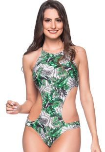 Deeply cut Brazilian monokini in green leaves - ENGANA VIUVINHA