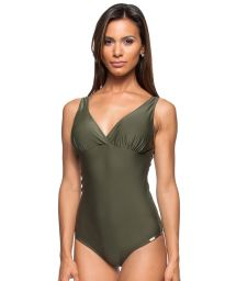 1 piece khaki swimsuit with soft padded top - GENGIBRE