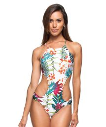 White floral print criss-cross back Brazilian trikini - ILHA EUROPEIA