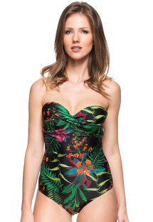 Black floral print pleated bustier one-piece swimsuit - LAGO DAS FLORES