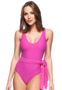 Pink tie-waisted one-piece swimsuit - LARANJEIRA