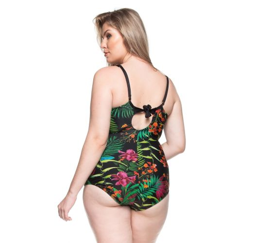 Plus-size hard padded one-piece in tropical black - LITORAL BAIANO