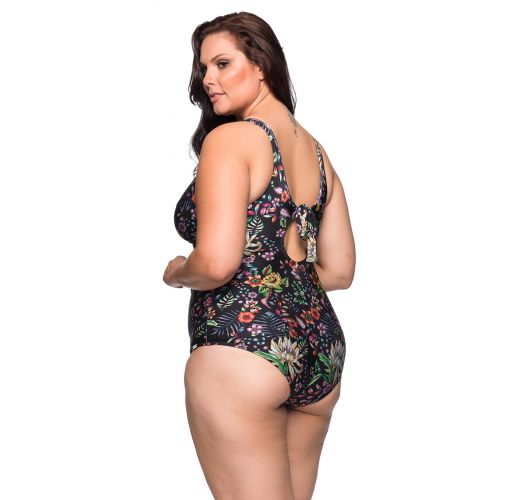 Black floral underwired one-piece swimsuit - plus size - MAIO DREAM PLUS