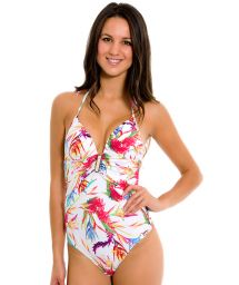 White one-piece swimwear with colourful flowers - MAIO FLORAL BRANCO
