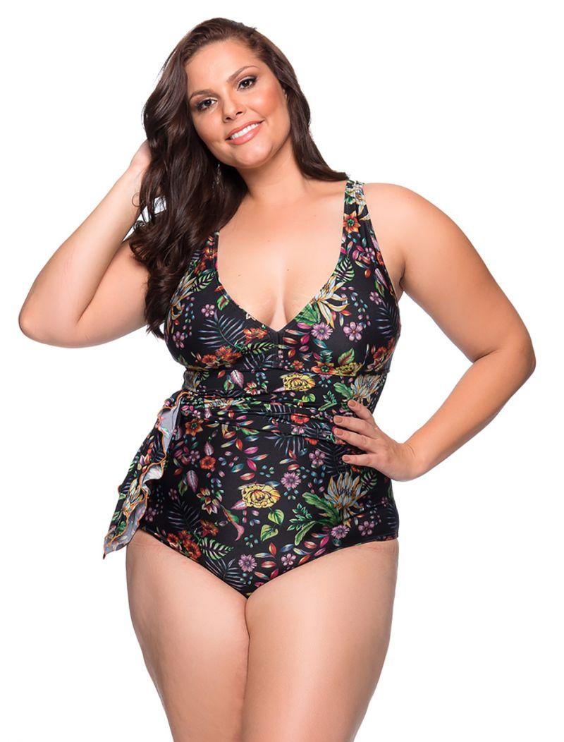 Black floral dress style one-piece swimsuit plus size - MAIO PAREO DREAM