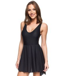 Black tie-waisted swimdress bathing suit - MAIO PAREO