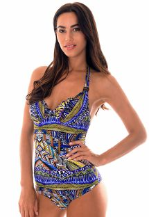Blue ethnic pattern one-piece swimsuit with underwiring - MAIO TRIBAL AZUL