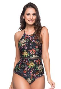 Black floral slimming one-piece swimsuit - MEDIDAS DREAM