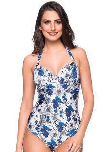 Blue & white floral one-piece swimsuit - MEIA TACA ATOBA