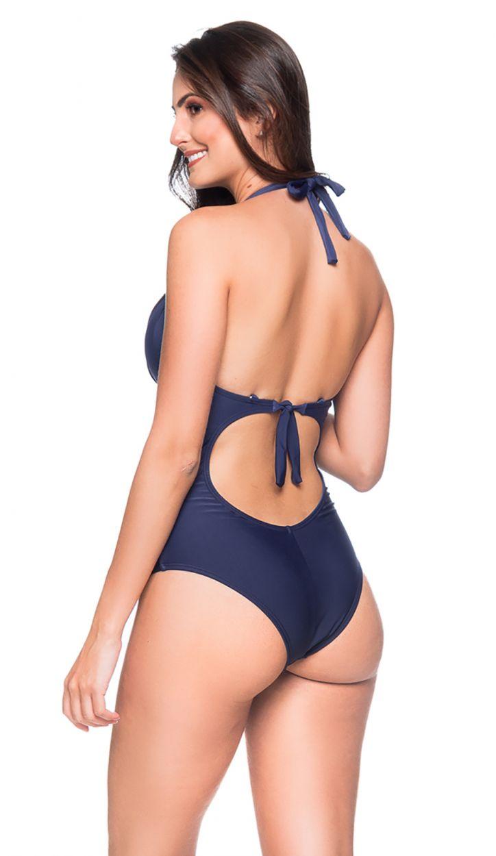 Navy underwired one-piece swimsuit - MEIA TACA MIRAMAR