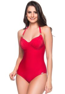 Red one-piece swimsuit with underwire - MEIA TACA MULUNGU
