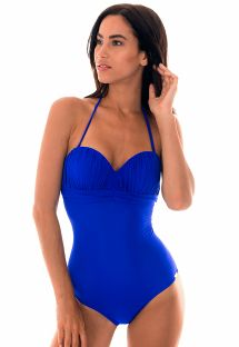 Costume intero a fascia con imbottitura blu - MELINA AZUL