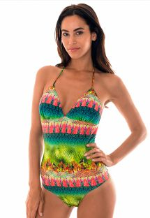 Multicoloured one-piece swimsuit with strappy back - MINHA TERRA TIRAS