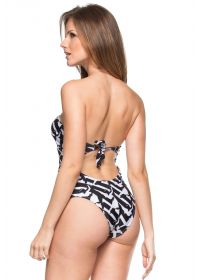 Black/white pleated bustier one-piece swimsuit - NORMANDIA