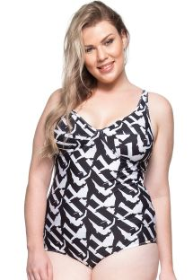 Plus-size underwired one-piece swimsuit black and white - PAISAGENS CEARENSES