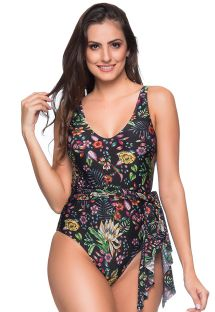 Black floral one-piece swimsuit floral with a tied skirt - PAREO DREAM